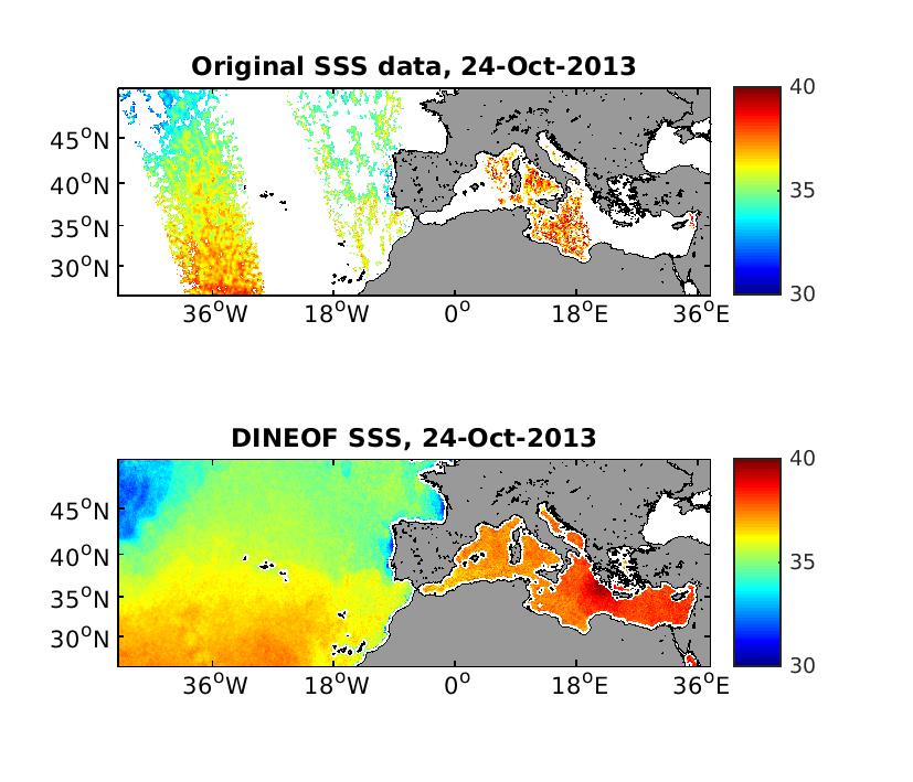 Analysis of SMOS salinity data in the North Atlantic ocean using DINEOF: EGU 2015 presentation